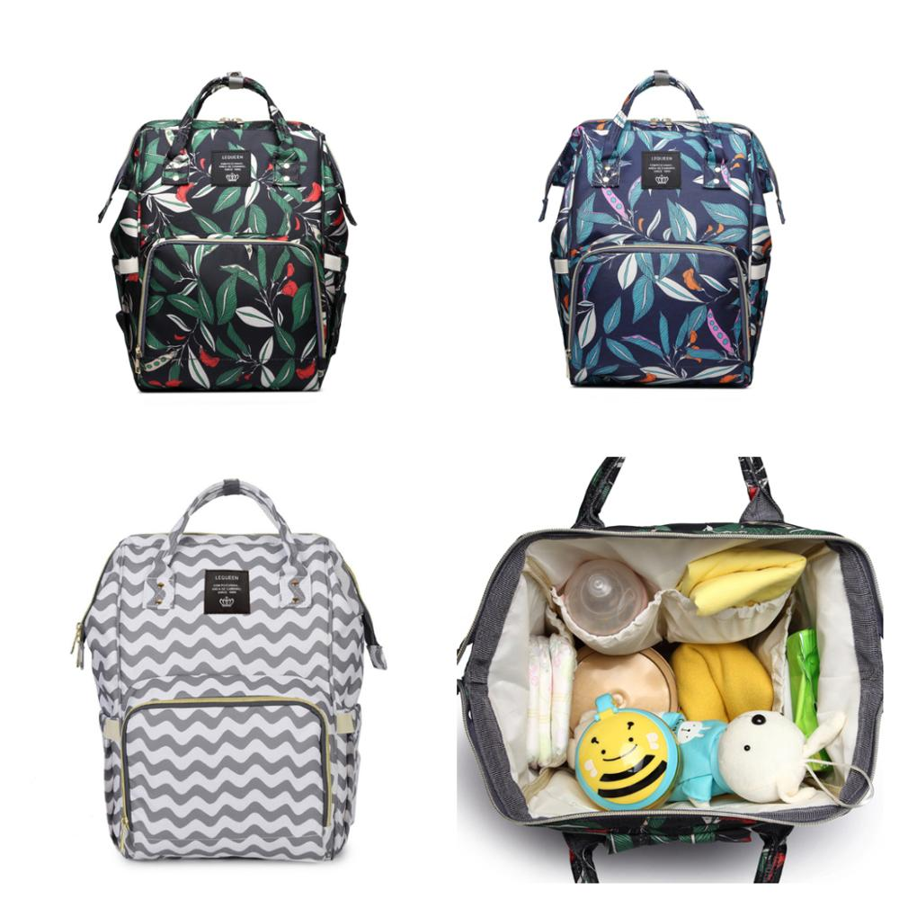 Lequeen-sac à couches de grande capacité | Sac à dos de voyage pour maman multifonctionnel à imprimé feuilles, sac à couches imperméable poussette sacs pour bébé