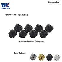 """WinKool водяное охлаждение G1/"""" OD 14 мм жесткие трубки компрессионные фитинги мульти-Ссылка адаптер 4 уплотнительные кольца 8 шт./лот"""