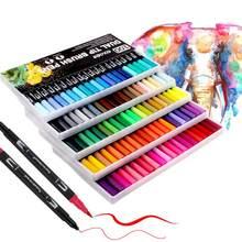 Canetas duplas da ponta da escova da ponta até 120 canetas da ponta de feltro das cores que colorem para o bloco dos adultos, desenho, canetas da escova da pintura da caligrafia