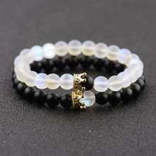 2019 Fashion couples bracelet His And Hers Jewelry 8mm Stone Beads Bracelets & Bangles King Queen Couple Bracelet for Lovers