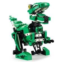 435pcs Moc 2-in-1 Building Blocks Crocodile Jurassic World Park Dinosaurs Tyrannosaurus Rex Bricks Toys With Voice/light Control