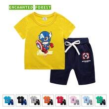 Boy sets summer new childrens clothing 100% cotton cartoon printing short-sleeved T-shirt + shorts girl suit