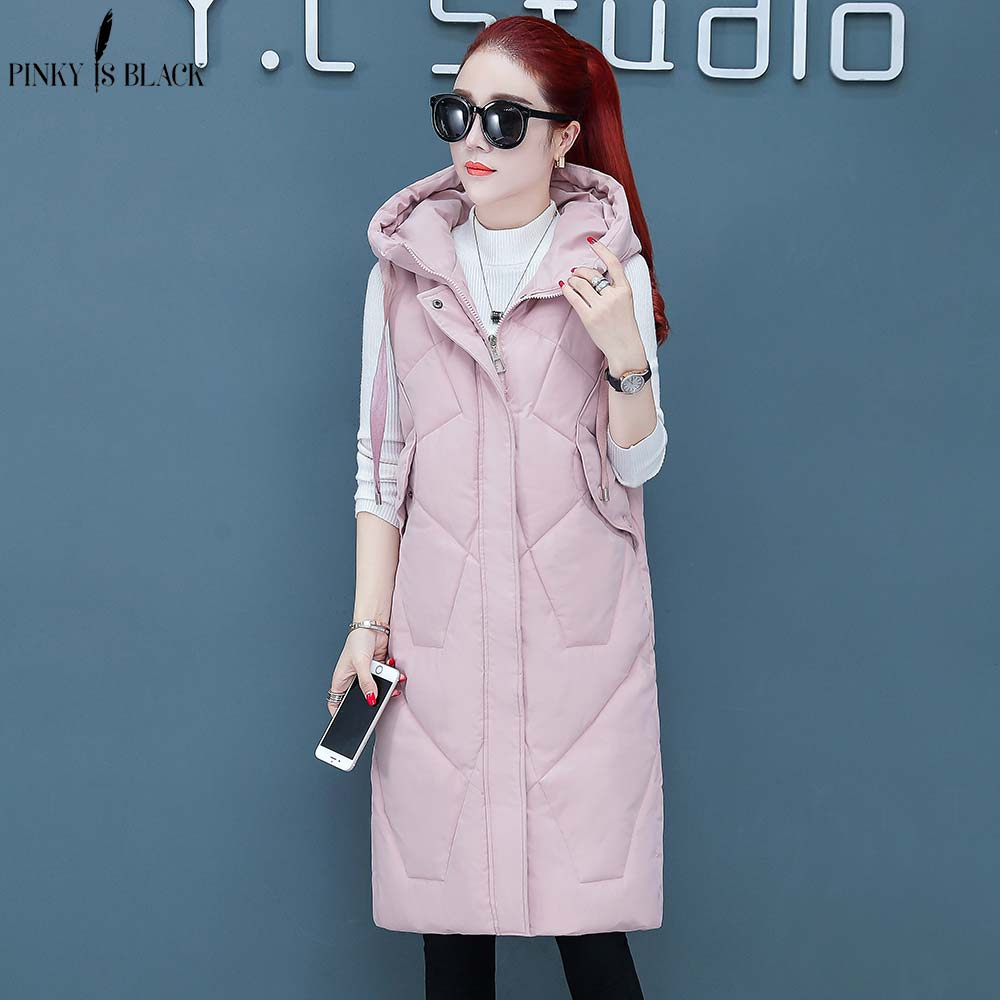PinkyIsBlack 2019 Autumn Winter Cotton Vest Women Ladies Casual Waistcoat Female Sleeveless Long Vest Jacket Slim Fit Warm Coat