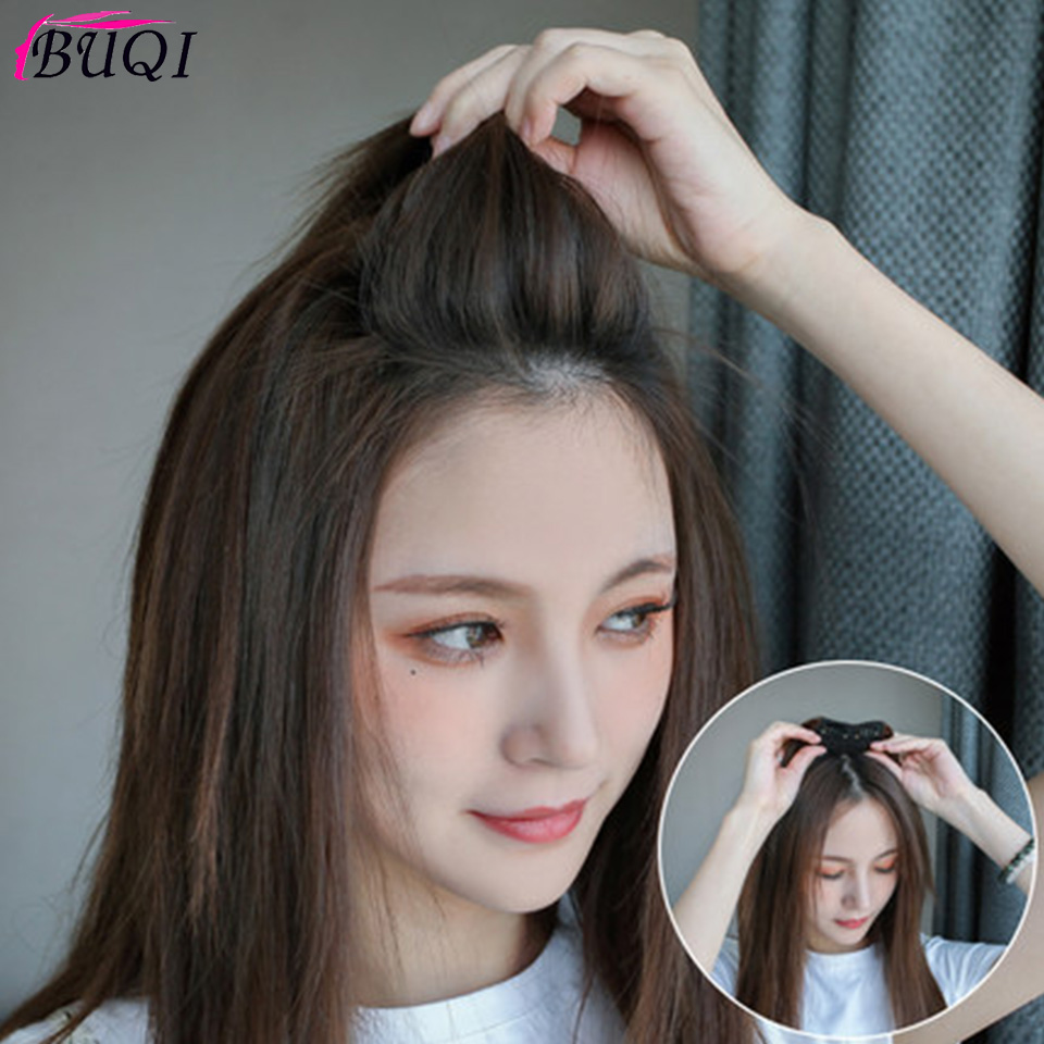 BUQI Straight Hair Human Hair Top Hair Pad Fluffy Mini In Black Brown Hairpiece For Women Invisible Accessories