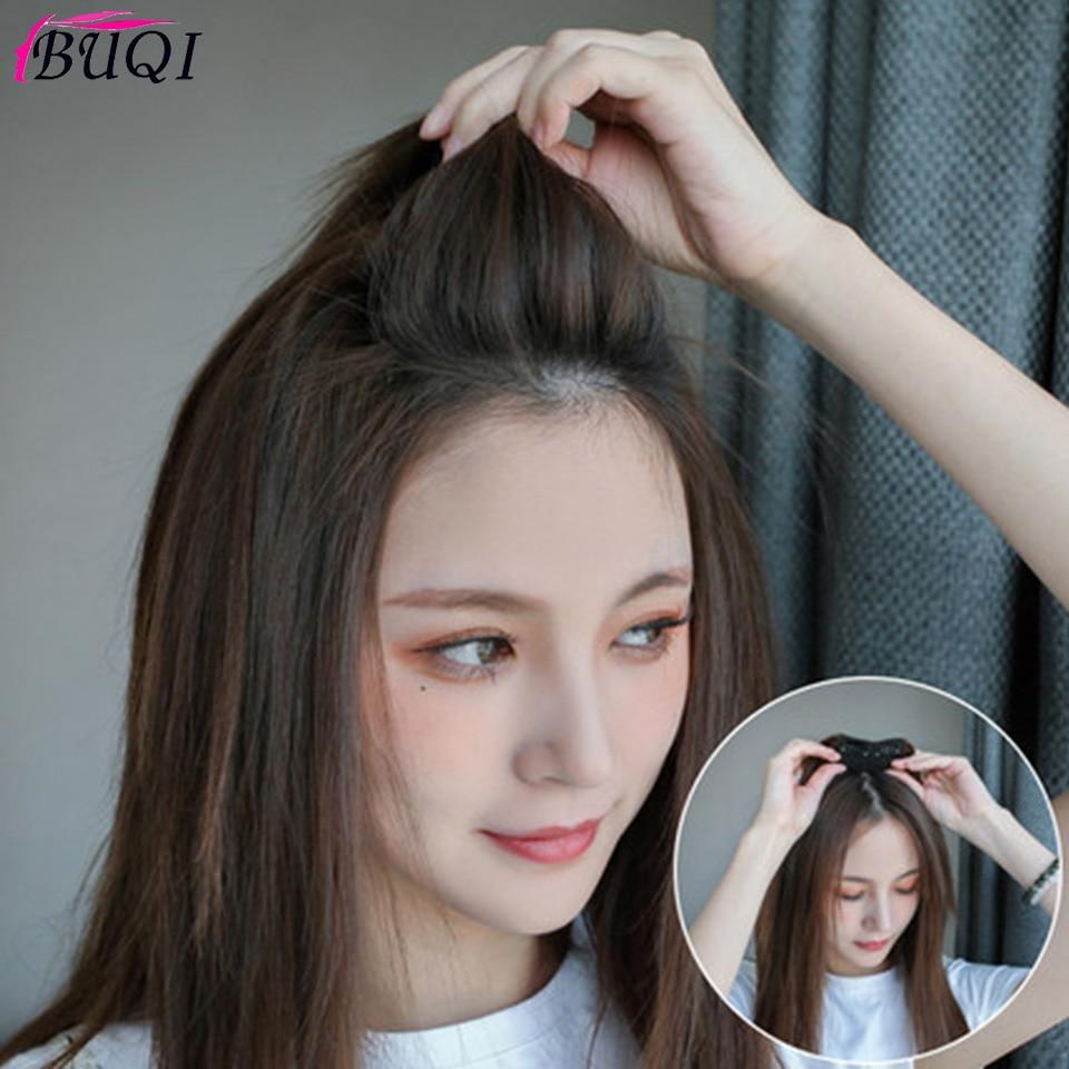 BUQI Straight Hair Human Hair Top Hair Pad Fluffy Mini In Black Brown Hairpiece For Women Invisible Accessories
