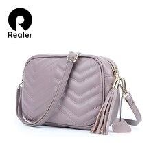 REALER Women Bag Messenger Bags Genuine Leather Casual Shoul