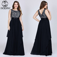 Skyyue 2019 Sexy Backless Lace Evening Dresses O Neck Sleeveless Women Party Dress A Line Formal Gown Robe De Soiree C437