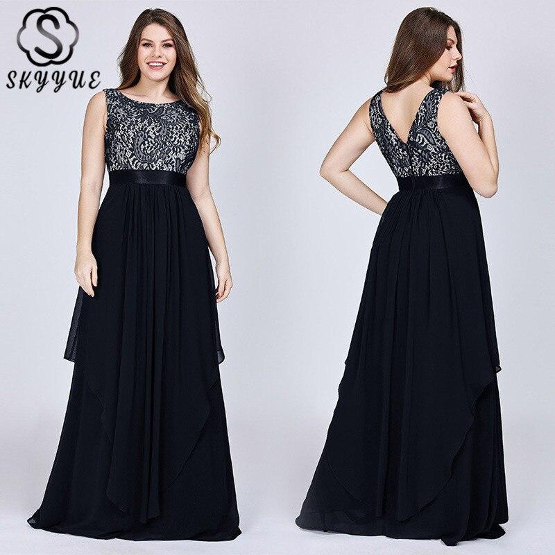 Skyyue 2019 Sexy dos nu dentelle robes De soirée o-cou sans manches femmes Robe De soirée a-ligne Robe De soirée Robe De soirée C437