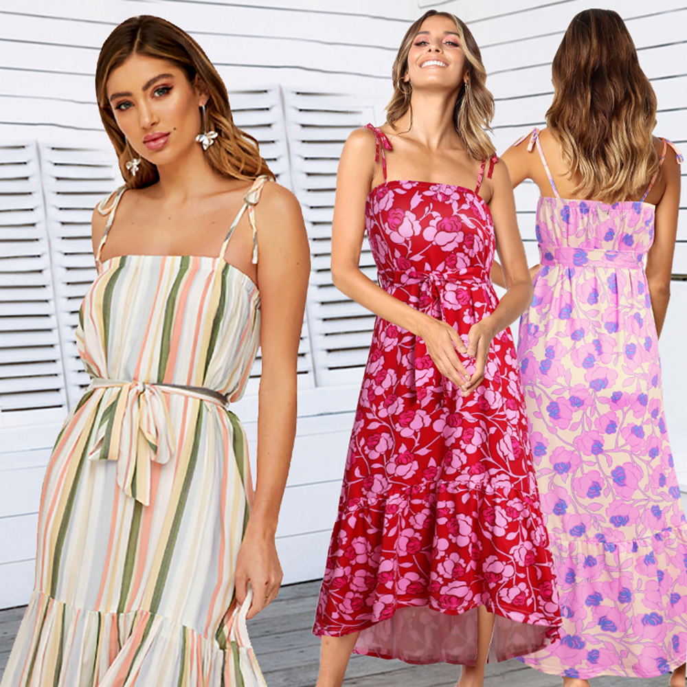 2019 new summer women Long dress pleated hanging bandwidth loose print dress sleeveless sling pleated elegant Floral dress in Dresses from Women 39 s Clothing