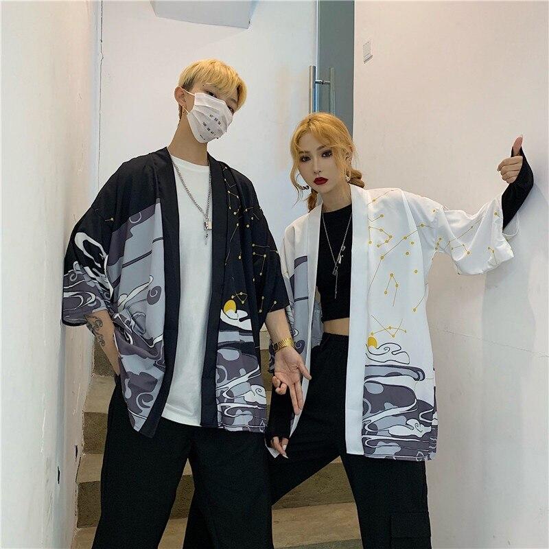 Japanese Kimono Cardigan Women Summer Seven-quarter Sleeve Hakutaku Blouse Coat 2019 New Fashion Causal Cardigans Top Clothing
