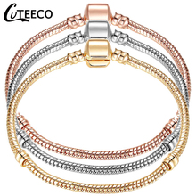 CUTEECO High Quality Silver Rose Gold Color Charm Bracelet European Fashion Snake Chain Heart For Women Jewelry