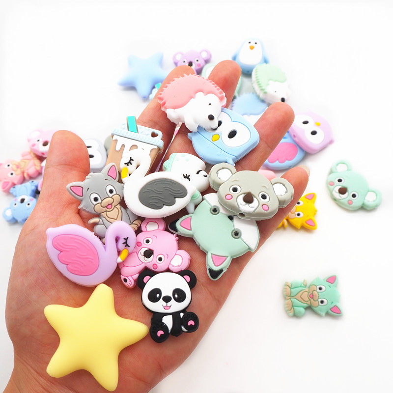 Chenkai 10pcs Silicone Beads Unicorn Star Turtle Koala Dinosaur DIY Baby Teether Sensory Jewelry Cartoon Beads