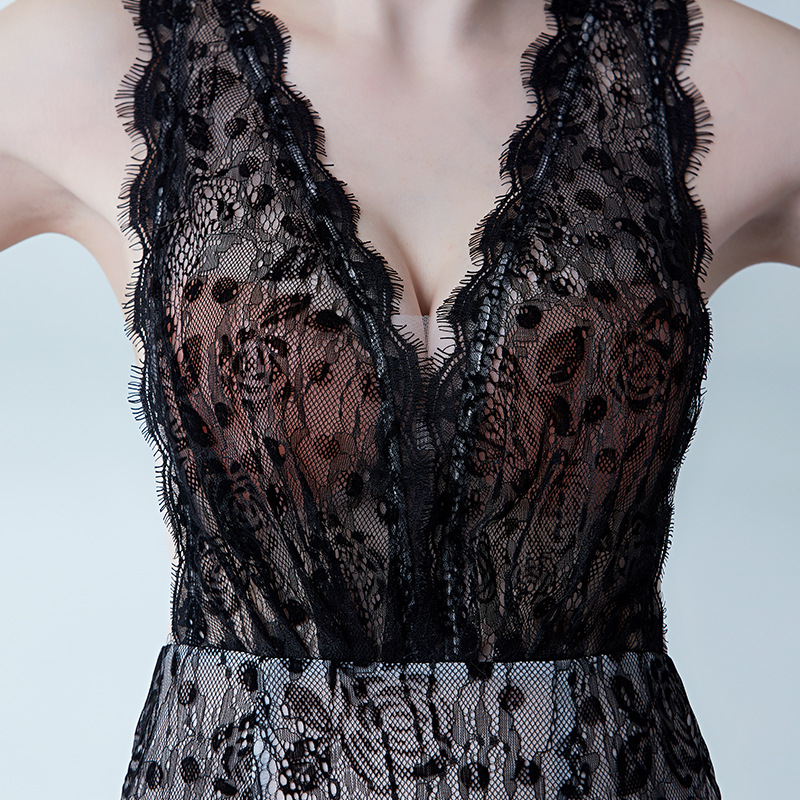Sexy Evening Party Dress Short Black Lace Mermaid Prom Dresses See Through Nightclub Dress Elegant Sexy V neck African Dresses in Prom Dresses from Weddings Events