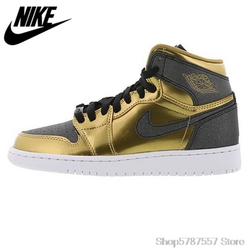 Nike Beacon Sports Air Jordan 1 RETRO HIGH BHM AJ1 Black Men's Comfortable Slip Basketball Shoes Sneakers