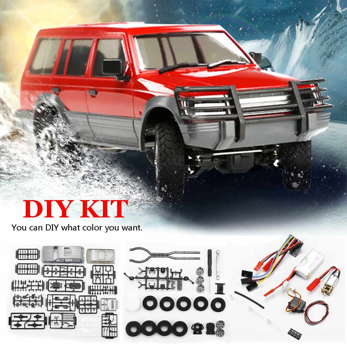 Orlandoo-Hunter 1/32 4WD DIY Assembly <font><b>Car</b></font> Kit RC Rock Crawler OH32A02 Red With <font><b>Electronic</b></font> Parts 300rpm Brushed Motor <font><b>Kids</b></font> Toys image
