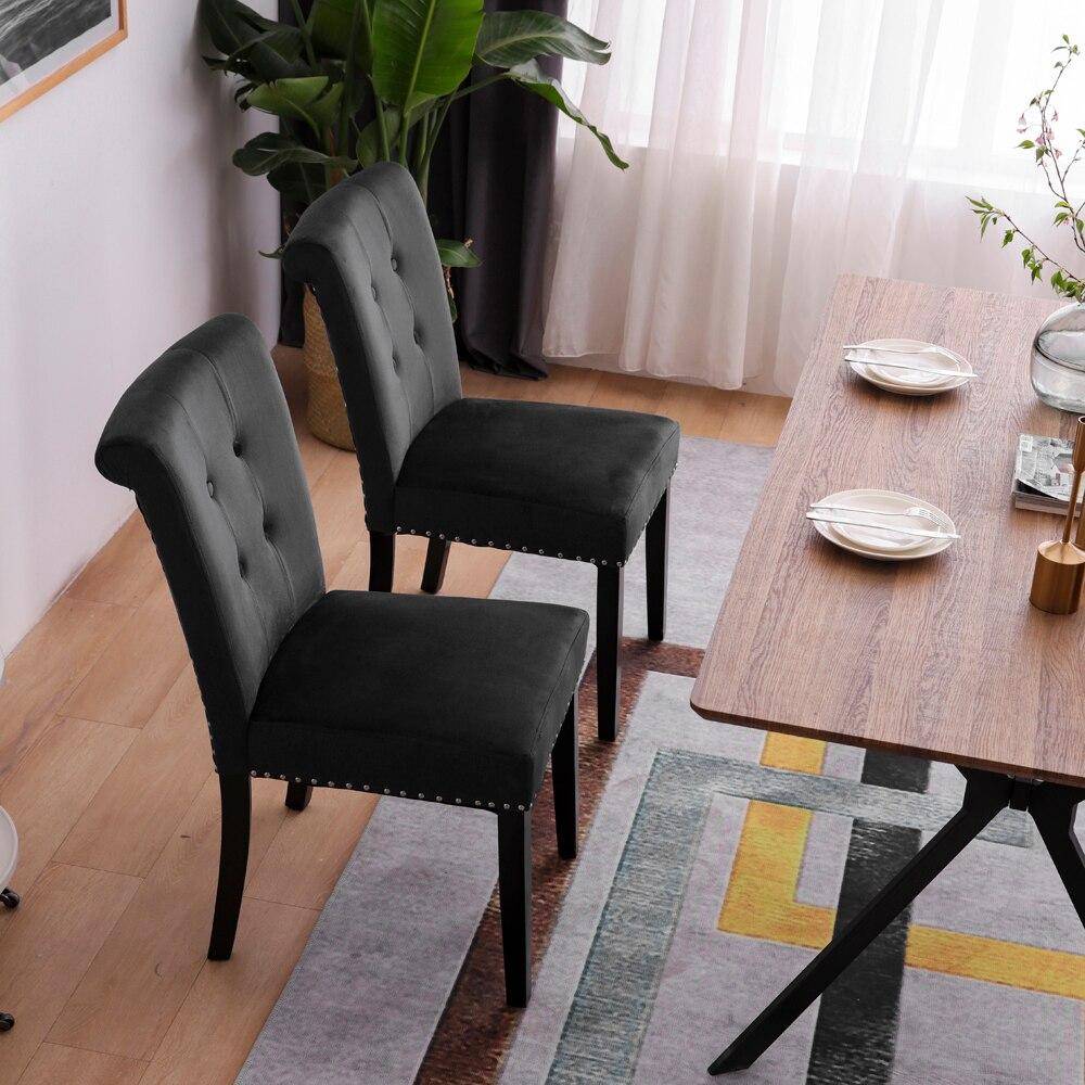 Dressing Chair Velvet Fabric / Rubber Wood Legs   Cushion Original Cotton Density 26 Spring   Nail Dressing Stool Two Sets Black