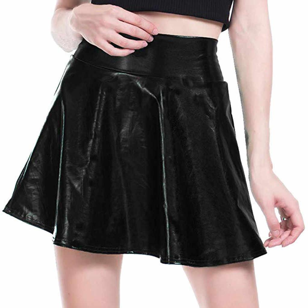 Для женщин Повседневное Модный Блестящий металлический Плиссированное расклешенное платье трапециевидной формы мини-юбка пикантные вечерние ночь юбки Для женщин s Faldas Mujer Moda 2019