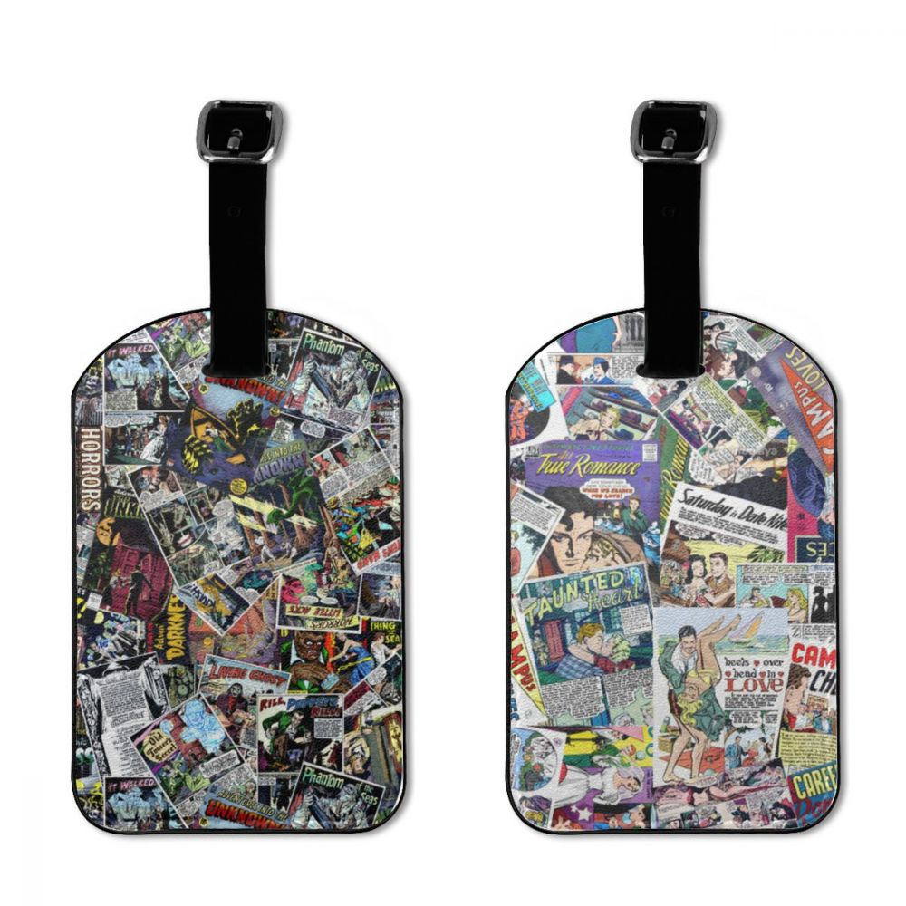 NOISYDESIGNS Vintage Comic Heroes Travel Accessories Luggage Tag Set Suitcase Bus Case Portable Label ID Address Holder Baggage