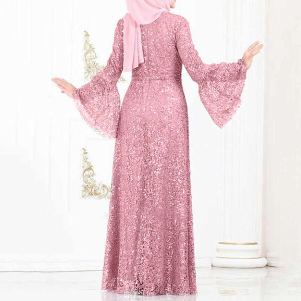 Moda feminina muçulmano islâmico vestido de renda lantejoulas vestido longo casual swing vestido de noite vestido de festa vestidos de fiesta