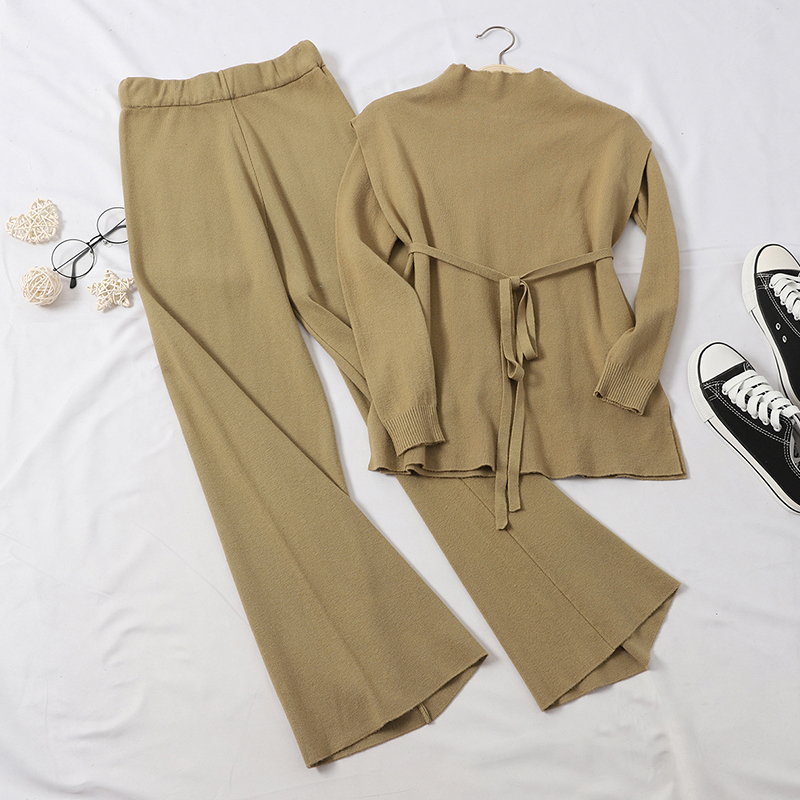 New Wild Half-high Collar Lace-up Split Knit Top Age-reducing Wide-leg Pants Temperament Two-piece Suit