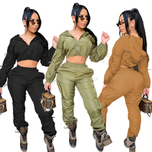 Echoine Fall Women Ruched Drawstring Sporty Tracksuit Sets Long Sleeve Hooded Short Tops and Cargo Sweatpants Streetwear Outfit