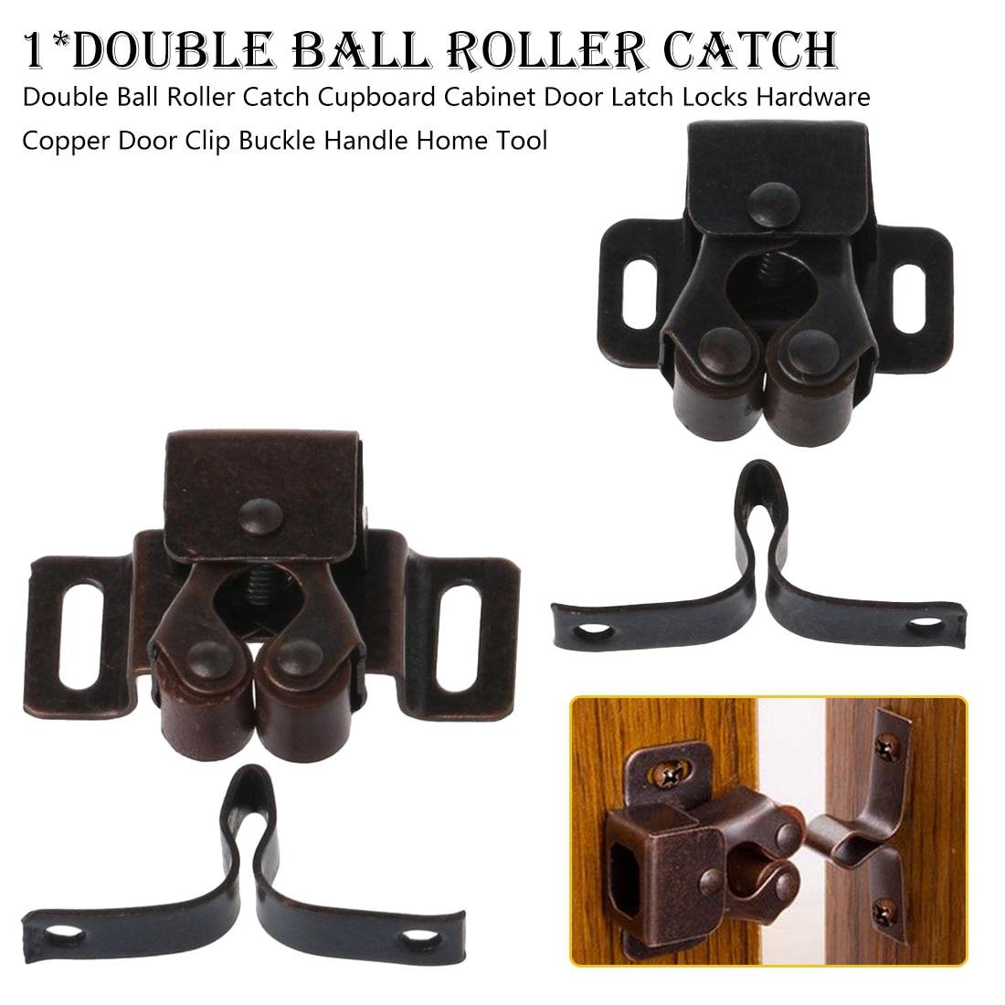 1Pc Double Ball Roller Catches Cupboard Cabinet Door Latch Locks Hardware Copper Door Clip Buckle Handle Home Door