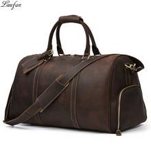 Luufan Extra Large Travel Bag For Man Big Capacity Vintage Crazy Horse Leather Duffle Bag With Shoe Pocket male Luuage Handbag