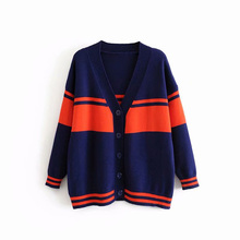Open Stitch Sweaters Knitted Women Striped V-Neck Spring and Autumn Coat Long Sleeve Tops Ladies Outwear