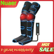 Leg Air Compression Massager Heated for Foot and Calf Thigh Circulation with Handheld Controller 6 massager modes for family