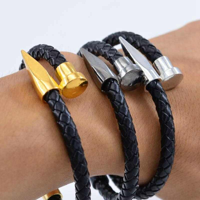 Bracelets Men/nail bracelet/gold/stainless steel/pulseira masculina 6mm Weave Genuine leather Charm mens bracelets 2019