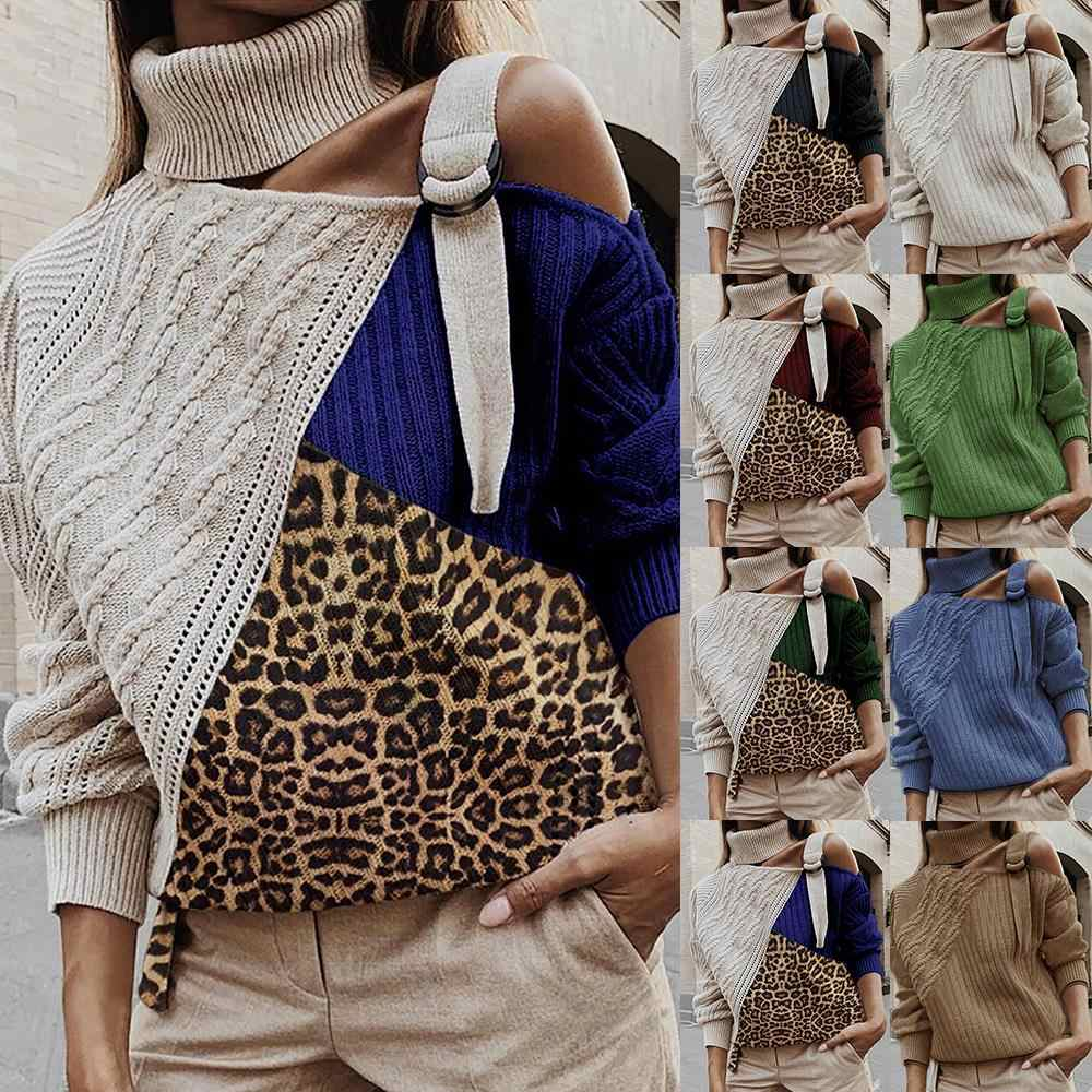 Mjartorialeopard retalhos camisola de gola alta feminina sexy fora do ombro cor bloco de malha blusas batwing manga longa pullovers