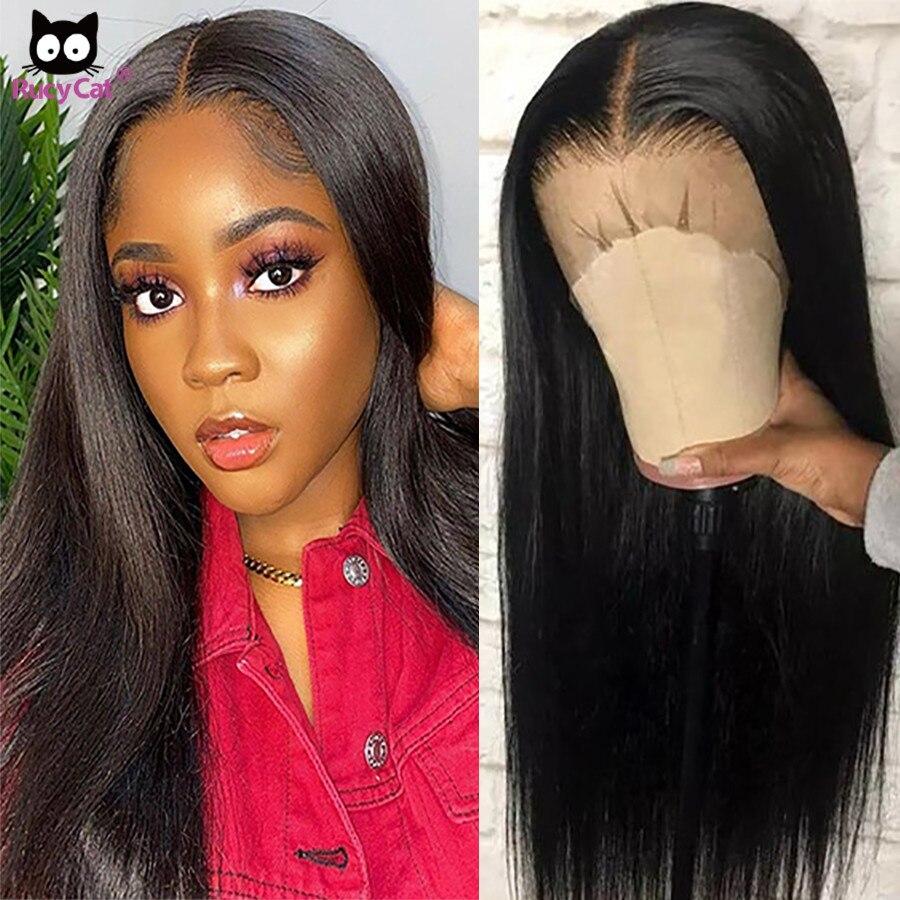 Прямые волосы RucyCat, 32 дюйма, парик на сетке 5 Х5, бразильские волосы на сетке спереди, человеческие волосы, парики с предварительным выщипыванием, 30 дюймов, парик на сетке спереди Парик из натуральных волос на кружеве      АлиЭкспресс