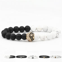 12PCS/LOT Yin Yang Beads Bracelet Natural Stone Strand Yoga Charm Bracelets Jewelry Gifts for Women Men Lovers(China)