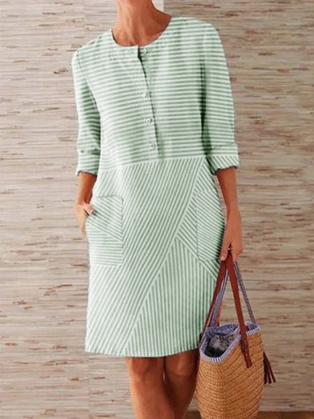 CAIDA Spring Cotton Linen Dress Fashion Button O-Neck Knee Party Dress Women Long Sleeve Pocket Solid Dresses 10