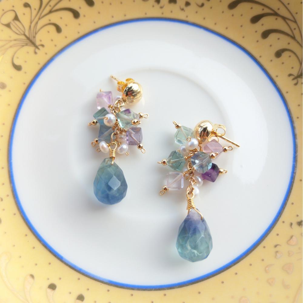 LiiJi Multi Fluorite perles d'eau douce boucles d'oreilles en argent Sterling 925 à la main bijoux délicats femmes cadeau livraison directe