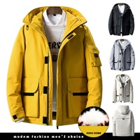 ICPANS 30 Degree White Duck Down Coats Hooded Cold Snow Resistant Russia Winter Jacket Men Thick Warm Streetwear Multi pocket