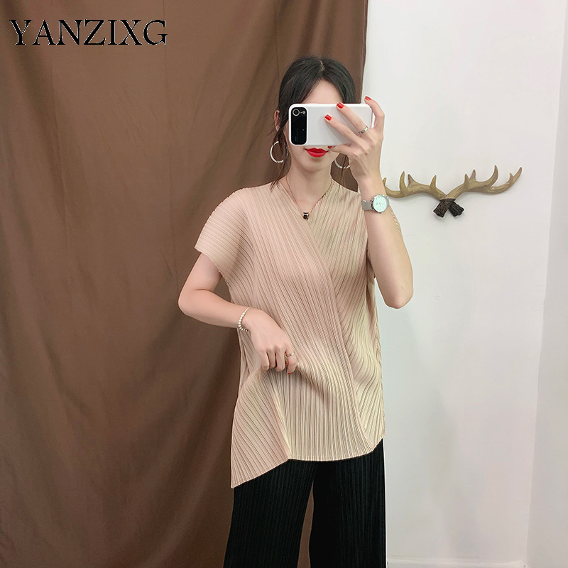 V neck Fashion Women T shirt 2019 Summer New Loose Pluz Size Solid Color Ladies T Shirts Casual Wild Women Tops Z850