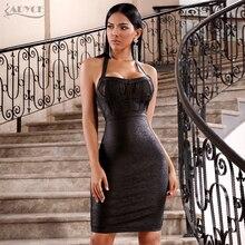 ADYCE 2020 nouveau été femmes robe de pansement Vestidos Sexy noir licou dentelle dos nu moulante Club robe Midi célébrité robe de fête