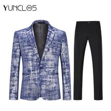 New Men 2 Pcs 3D Print Blue Suits One Button Slim Fit Casual Wedding Party For Host Dress XS-4XL