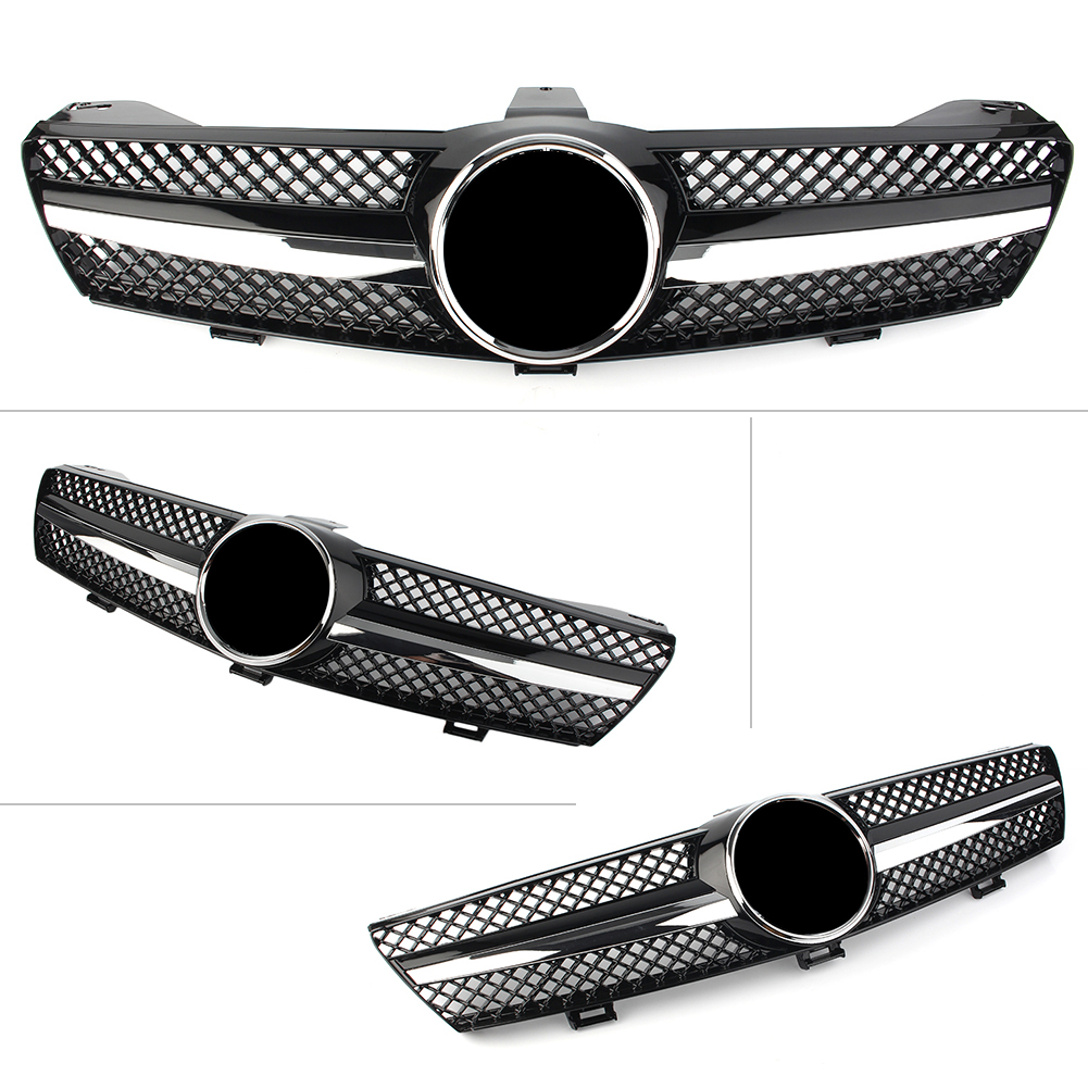 Car Front Bumper Grille ABS Upper Mesh <font><b>Grill</b></font> For Mercedes Benz <font><b>W219</b></font> CLS500 SLS600 CLS Class 2004 2005 2006 2007 Chrome Black image