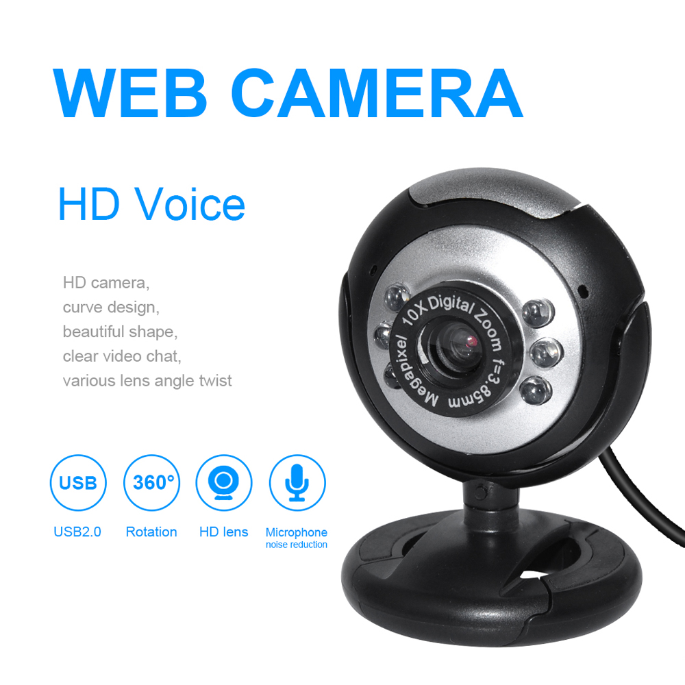 DeepFox Usb Video Web Camera Six Lights Night Vision Drive-free Clip Camera Computer Webcam In Stock
