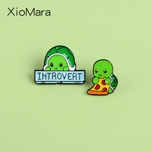 Introverts Schildpad Emaille Pins Sociale Fobie Angststoornis Banner Emaille Pin Denim Jas Rugzak Badge Pinnen Voor Vrienden(China)