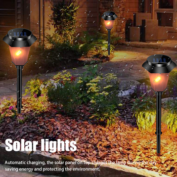 Solar Lights Led Patio Outdoor Garden Torch Ground Insert Lawn Landscape Flickering Flames Auto On Off ABS Waterproof Yard image