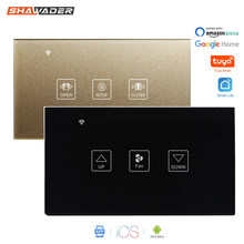 Smart WiFi Curtain Fan Dimmer Switch Touch Glass Panel Remote Timer Control Motorized Electrical Roller Blinds for Google Home