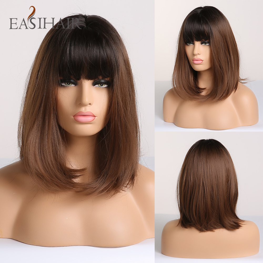 EASIHAIR Black To Brown Omber Straight Bob Wigs Medium Length Synthetic Wigs For Women Cosplay Wig With Bangs Heat Resistant Wig
