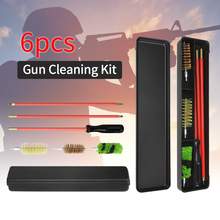 6pcs/Set 12 GA Gauge Gun Rifle Cleaning Kit Aluminum Rod Brush Gun Hunting Shooting Tactical Gun Rifle Cleaning Brush Tools Set