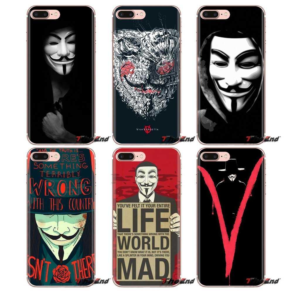 Ipod Touch の apple の iphone 4 4S 5 5S 、 SE 5C 6 6S 7 8 × XR XS プラス Max ソフト透明シェルカバーガイ · フォークス匿名マスクの V