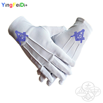 Hot Diamond Square and Compass Masonic High Quality Middle East Flat Thermoset Rhinestone Polyester Gloves-[White]