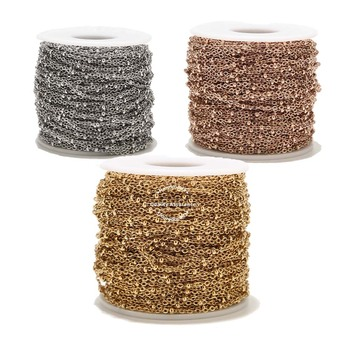 2 Meters 2mm Width New Stainless Steel Gold Rose Gold Satellite Beaded Dainty Chain for Women Necklace Making DIY Chain Supplies hl 15mm width 2 meters 5 meters leopard elastic band diy garment accessories for making headband