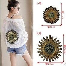 Золотая большая вышивка блестки звезда Солнце тканевая наклейка DIY аксессуары для одежды аксессуары одежда кусок аппликации